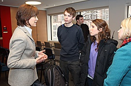 Principal Heather Munroe-Blum meets with Arts students Andreas Birkbak, Kimberley Sebag and Aleah Lowney following Tuesday's Town Hall. / Photo: Owen Egan