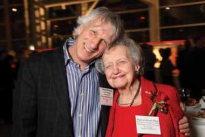 Outgoing Vice-Principal (Research and International Relations) Denis Thérien hugs the inimitable Brenda Milner, world-renowned neurologist and University icon, at McGill's Bravo gala on Tuesday night. / Photo: Owen Egan