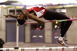 Justin Darlington of the McGill Track and Field team won gold with a school record leap of 2.07 metres in the men's high jump at the Quebec university track & field championship meet in February. Turn to page 11 for a profile of the high-flying McGillian. / Photo: Gary Rush, courtesy McGill Athletics & Recreation