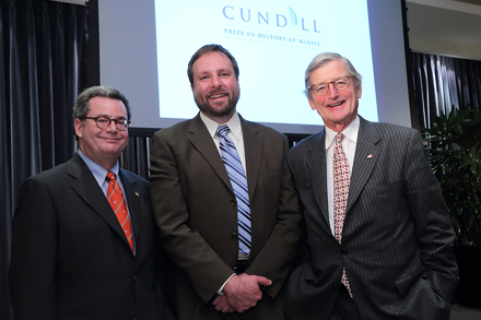 Author Stephen Platt is flanked by Arts Dean Christopher Manfredi (left) and the Honourable Michael Meighen, co-chair of Campaign McGill. / Photo: Owen Egan.