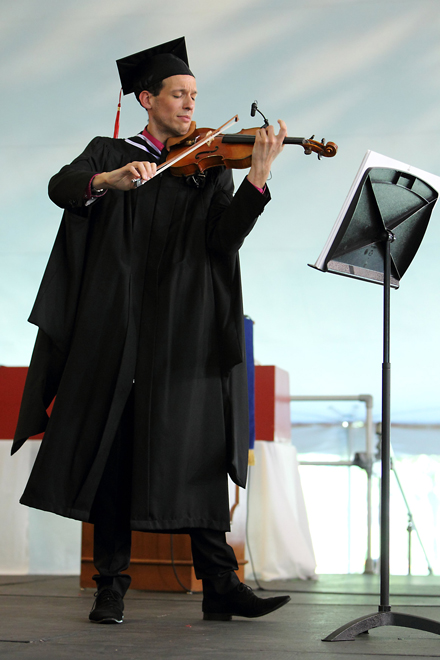 Golden Violin winner Baptiste Rodrigues plays for the audience during the Schulich Music School ceremony. / Photo: Owen Egan