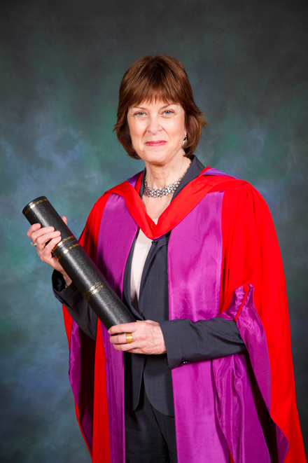 Principal Heather Munroe-Blum with the honorary degree conferred upon her by the University of Glasgow. / Photo courtesy of University of Glasgow