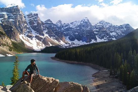 Saleh Ewan takes in the magnificent view of Moraine Lake at Lake Louise, AB. / Photo: Saleh Ewan.