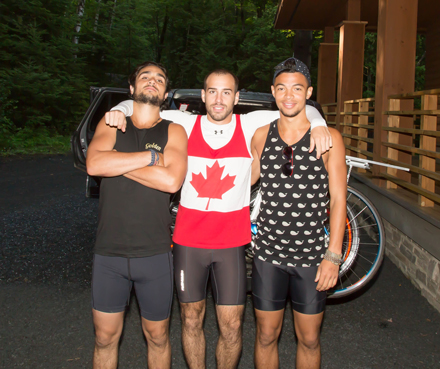 """Showers were a commodity, but that comes with camping,"" said Nigel Maitland (right), pictured here with Mike Seccareccia (centre) and Hans Herrmann. ""But for the first six days we were biking along the St Lawrence River and we swam every day. It wasn't a shower, but it kept us clean enough to maintain our friendships."" / Photo courtesy of Nigel Maitland."