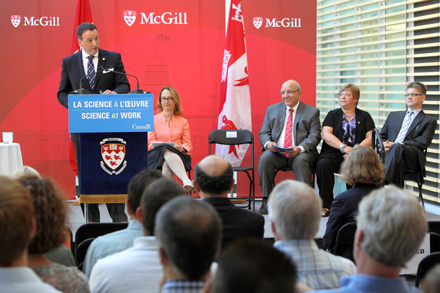 From left to right: the Honourable Greg Rickford, Minister of State for Science and Technology; Rosie Goldstein, Vice-Principal (Research and International Relations); Anthony C. Masi, Provost and Acting Principal and Vice-Chancellor; Isabelle Blain, Vice-President of Research Grants and Scholarships at NSERC; and Prof. Jan Seuntjens, co-director of the new Medical Physics Research Training Network at today's announcement. / Photo: Owen Egan.