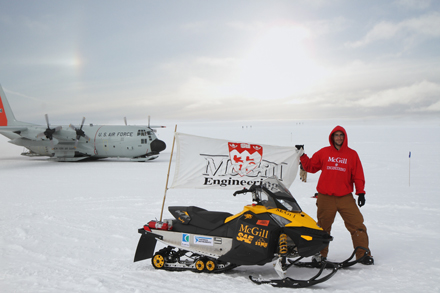 Ali Najmabadi, captain of the McGill Electric Snowmobile Team, and his trusty vehicle Wendigo, at the Summit Station on the Greenland ice sheet earlier this summer. / Photo courtesy of Ali Najmabadi.