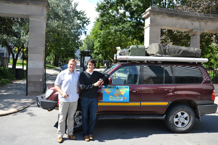 Graham and Ed Durgan in front of the Roddick Gates with their trusty vehicle Tonka at the end of their 18,000-kilometre trek around the world. / Photo courtesy of Ed and Graham Durgan