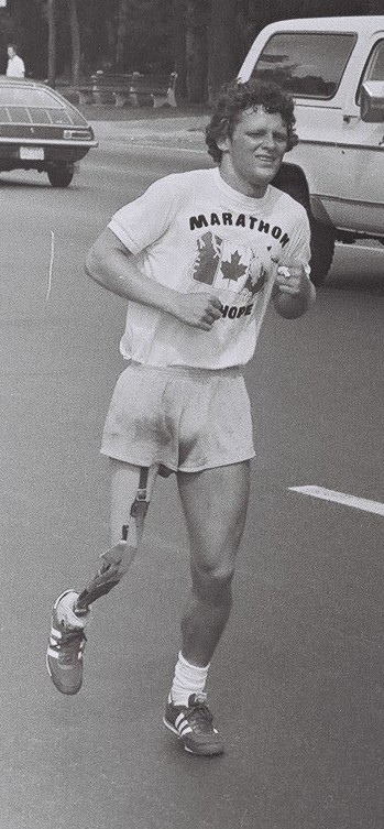 Terry Fox, during his 1980 Marathon of Hope.