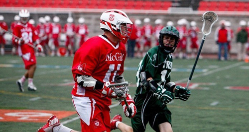 With its 19-7 trouncing of Trent on saturday, the Redmen lacrosse team improved its record to 6-0 to start the 2013 season. / Photo courtesy of McGill Athletics & Recreation