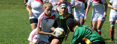 McGill's Brianna Miller Miller scored one try and added five conversions in the Martlets' 35-12 win over the Montreal Carabins this Sunday. / Photo: Derek Drummond