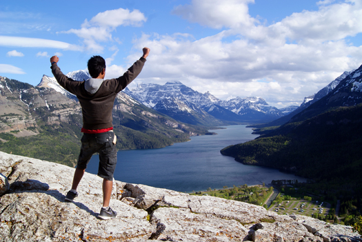 Saleh Ewan, Mining Engineering undergrad, on top of the world in Waterton Lakes National Park, AB.
