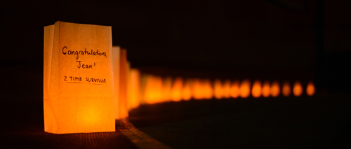 During the Survivors' Victory Lap, the track was lit with illuminated bags bearing personalized messages for cancer patients. / Photo: Hossein Taheri