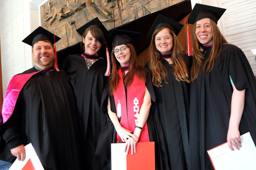 From left to right: James Richard Guthrie; Amy Christina Didemus; Bonnie Ann Pero; Catharine Alexandra Beveridge; and Sophie Trudeau celebrate earning their Master of Social Work. / Photo: Owen Egan