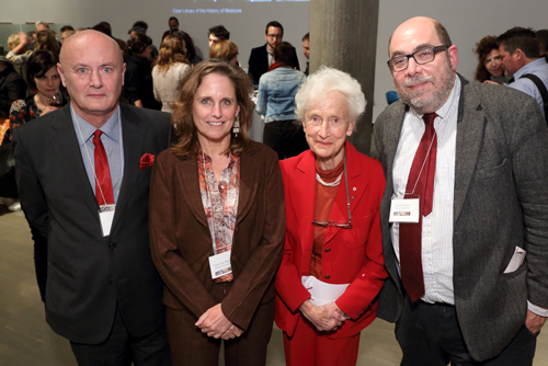 Will Straw (Art History and Communication Studies) and Gillian Lane-Mercier (Langues et littératures françaises), interim co-directors, CIRM; Gretta Chambers, Chancellor emeritus; and Daniel Weinstock (Law), interim co-director, CIRM. / Photo: Owen Egan
