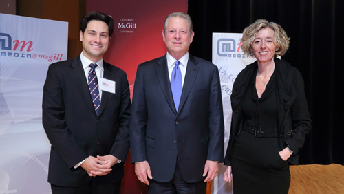 "Former U.S. Vice-President and Nobel Peace Prize Laureate Al Gore gave Media@McGill's 2013 Beaverbrook Annual Lecture on ""Technology and the Future of Democratization"" to a full house. He is pictured with Professor Christine Ross, Director of Media@McGill, and Olivier Marcil, Vice-Principal (Communications and External Relations). / Photo: Owen Egan"