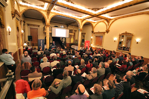 Provost Anthony Masi packed the ballroom of the Faculty Club for his Nov. 14 lecture. / Photo: Neale McDevitt