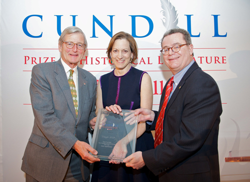 Author Anne Applebaum is flanked by Arts Dean Christopher Manfredi (right) and the Honourable Michael Meighen (BA'60).