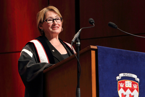 Monday's Convocation ceremonies marked the first for Suzanne Fortier as Principal of McGill. / Photo: Owen Egan