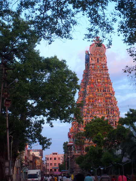 One of Tamil Nadu's most extravagant and beautiful temples in Madurai, glowing in the morning sunlight. / Photo courtesy of Gaëlle Perrin and Carmina Ravanera