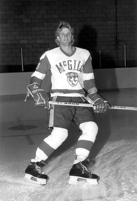 Mike Babcock during his playing days as a rugged blue liner for the McGill Redmen.