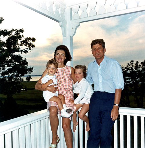 President John F. Kennedy and First Lady Jacqueline Kennedy and their children John Jr. and Caroline in Hyannis Port, Aug. 1962.  /  Photo: Cecil Stoughton,