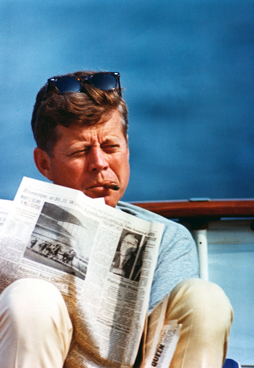 "Kennedy aboard the yacht ""Honey Fitz"", off Hyannis Port, Massachusetts, August 1963. / Photo: Cecil Stoughton."