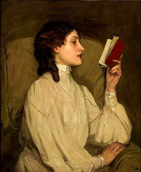 Miss Auras, Red Book (c. 1900) by Sir John Lavery.