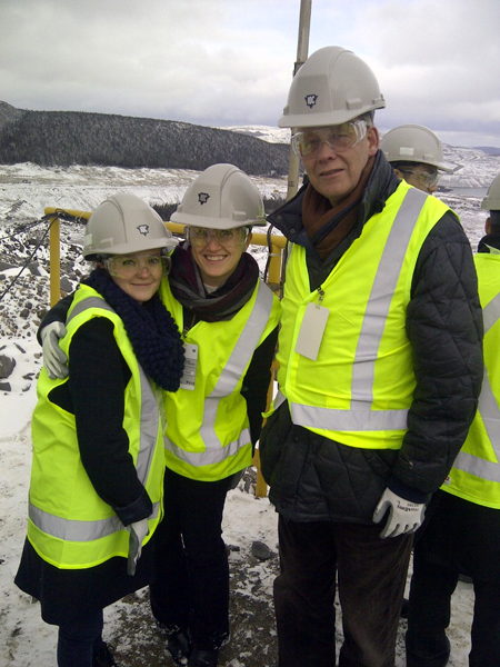 Desautels professor Karl Moore with MBA students Jessica MacKinnon (left) and Tatiana Saliba at the Iron Ore Company of Canada mine in Labrador City, Labrador.