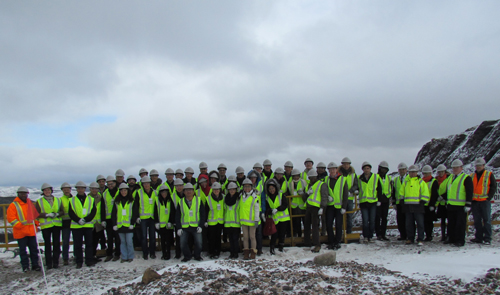Students from the CEO Insights course and employees of Iron Ore Company of Canada on site in Labrador City.