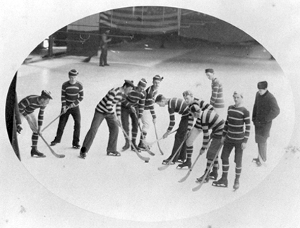The 1881 McGill varsity hockey team.