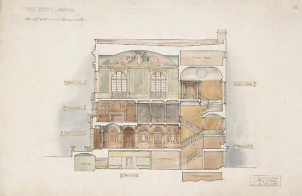Percy Nobbs and Hutchinson and Wood, architects,  Cross section, McGill Student Union Building, Sherbrooke Street Montreal, 1904.