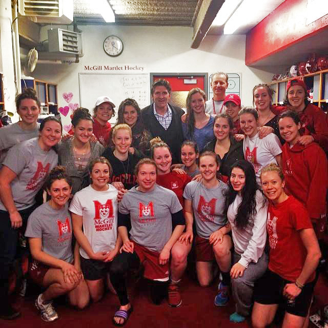 Mike Babock spoke with both the Redmen and Martlets hockey teams on Tuesday night, just two days removed from guiding Team Canada to Olympic gold in Sochi, Russia. / Photo courtesy of McGill Athletics&Recreation