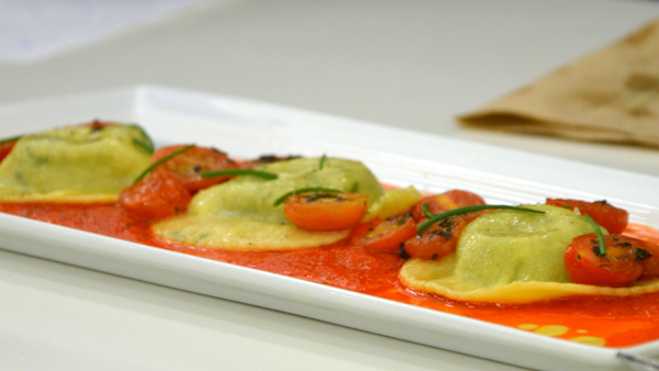 Team McGill's mouthwatering Spinach, Oyster Mushrooms and Feta Raviolis with a Red Pepper Coulis. / Photo: