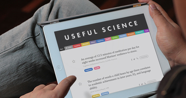 Browsing usefulscience.org's minimalist, colourful site is easy because it is simply organized along research categories, such as Education, Productivity and Happiness.