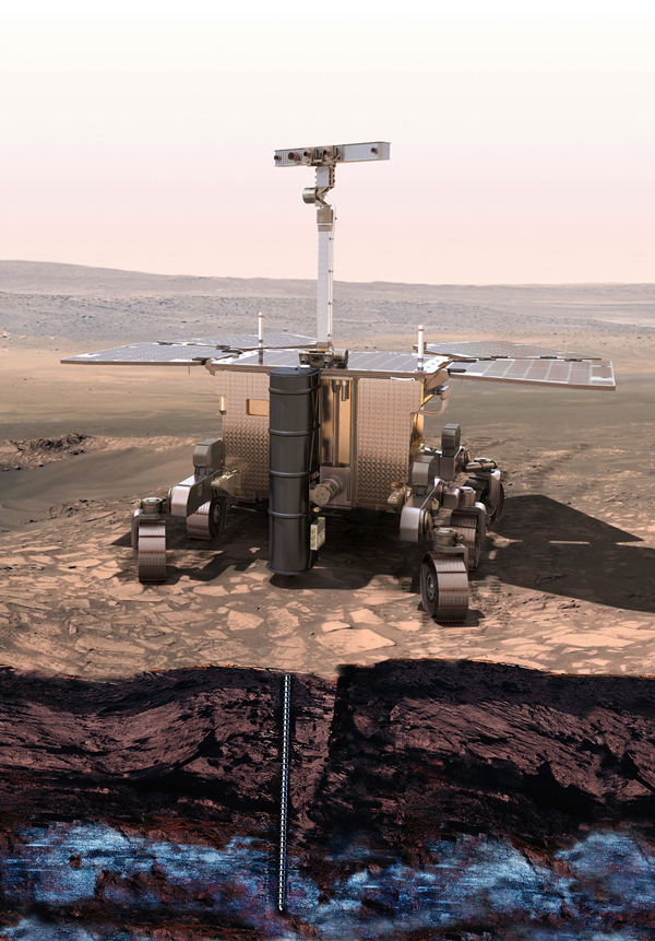 An artist's rendition of the ExoMars rover undertaking a drilling operation on Mars. / Photo courtesy of the European Space Agency