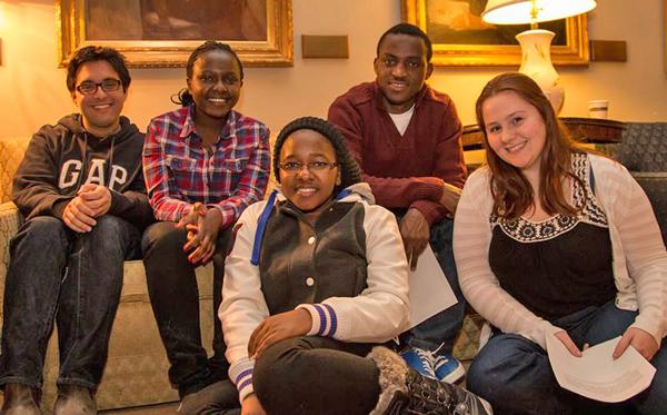 Some MasterCard Foundation Scholars and their mentors (from left to right) ; Anand Bery (U3 Science); Njeri Muguthi (U0 Science); Catherine Mwathe (U0 Management); Ignace Nikwivuze (U0 Arts); Kimber Bialik (U2 International Development) / Photo: Leslie Schachter