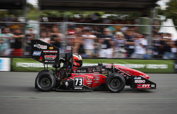 Lewis Koberg (Driver, 2013 Powertrain and Manufacturing Leader), driving during the Auto-X event at the Hockenheim Ring, in Baden-Wurtenburg, Germany, 2013. Photo: Formula Student Germany Photographers