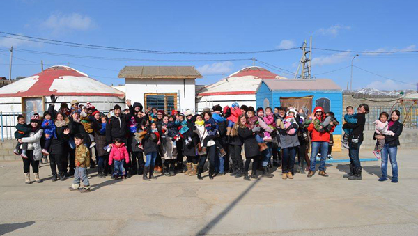 The McGill contigent pictured with the children and staff of the Veloo Foundation on the outskirts of Ulaanbaatar. / Photo: Justine Vidal