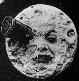 A screenshot from the film Le Voyage dans la lune (A Trip to the Moon) (1902).