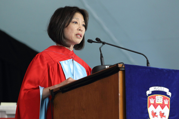 Denise Chong speaks to the class of 2014 during the afternoon Arts ceremony. / Photo: Owen Egan
