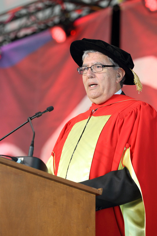Rubin Gruber gives his Convocation address during the morning Science ceremony. / Photo: Owen Egan