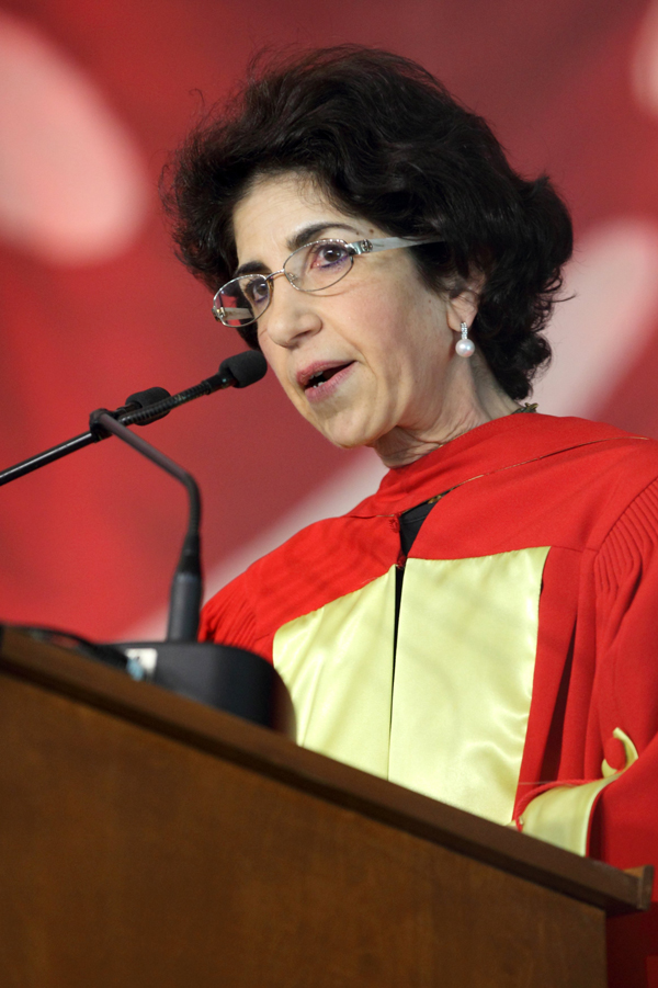 Fabiola Gianotti gives the final address of Spring 2014 Convocation. / Photo: Owen Egan