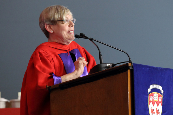 Karen Armstrong delivers the Convocation address during the morning Arts ceremony. / Photo: Owen Egan