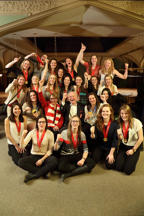 In March, Principal Suzanne Fortier and Chancellor H. Arnold Steinberg celebrated McGill's 'Golden Girls' - winners of Olympic gold in hockey and the CIS national hockey title. / Photo illustration: Owen Egan
