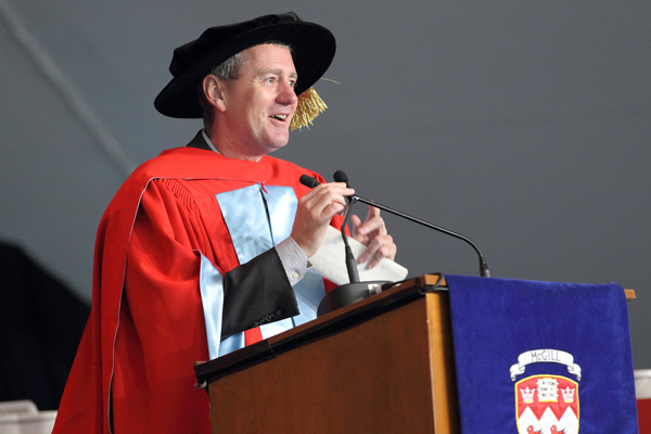 John Wood  addresses the audience during the Education ceremony. / Photo: Owen Egan
