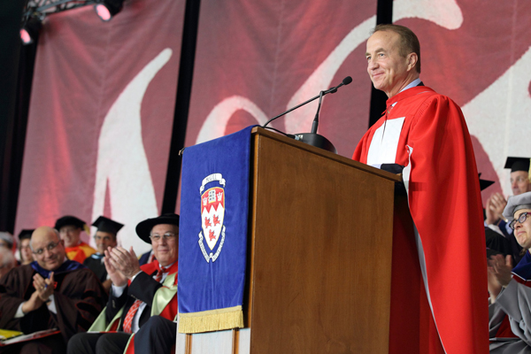John McCall MacBain gives his address upon receiving his Honorary Doctor of Law. / Photo: Owen Egan