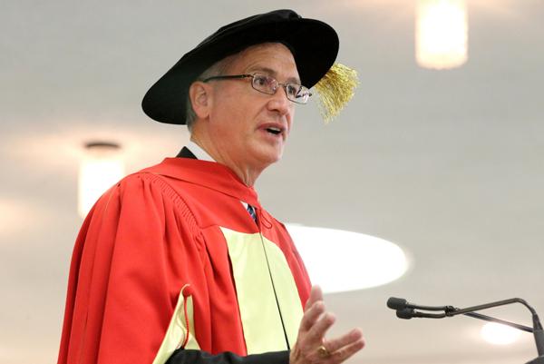 Randall Prather addresses graduating students at Macdonald Campus. / Photo: Owen Egan