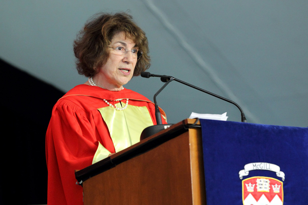Carol Prives delivers her Convocation address as part of the Health Sciences ceremony. / Photo: Owen Egan