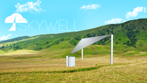 An artict's rendition of the Skywell system which uses a 55-square-metre sail to collect dew into a reservoir.