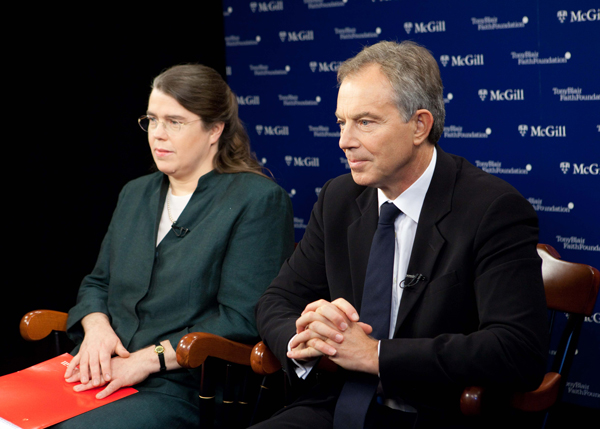 Ellen Aitken and former British Prime Minister, Tony Blair at a 2009 press conference announcing McGill's partnership with the Tony Blair Foundation. / Photo: Jerry Domian courtesy of Tony Blair Faith Foundation.
